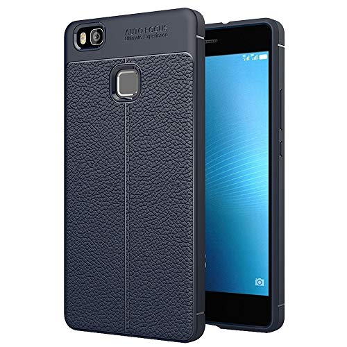 ZAORUN Cubiertas Protectoras para celulares Funda de protección Huawei P9 Lite Litchi Texture TPU (Color : Navy Blue)