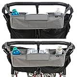 Bolsa organizadora BTR para cochecitos de bebé o sillas de paseo dobles o gemelar. Gris