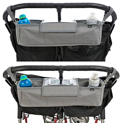 BTR Grey Pram Twin Tandem Buggy Organiser Storage Bag for Double Buggies, Exclusive Phone-Flip-Pocket Mobile Phone Holder & Waterproof Rain Cover, 2 x Buggy Clips.