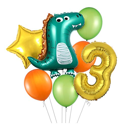 JSJJAES Balloons 7pcs/lot Green Dinosaur Party Balloon Kids Birthday Party Decoration 32inch Gold Number Balloons Baby Shower (Color : GOLD 3)