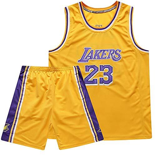 ANMQQ Niños Niños Niñas Hombres Adultos NBA Baloncesto Conjuntos Camisetas,#23 Los Angeles Lakers Lebron James Traje Uniforme Bordado,Deporte Aire Libre Camiseta Suave + Corto,Amarillo,L