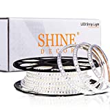 Shine Decor 50FT LED Strip Lights Dimmable, ETL-Listed 110V 120V Cuttable AC LED Rope Lights Outdoor Indoor IP65 Waterproof, 6500K Cool White LED String 120LEDs/M for House Lighting Decoration(6x10mm)