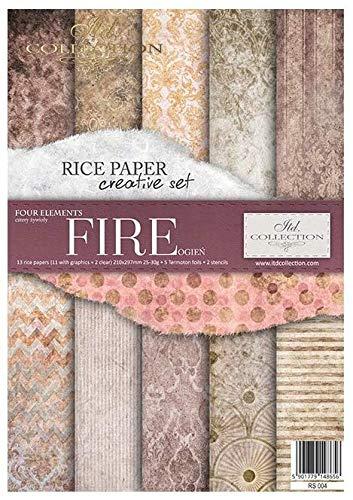 ITD Collection - Carta di Riso Set Creativo A4, Decoupage Scrapbooking, 29,7 x 21 cm Multicolore (Fire)