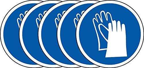 International ISO Handschuhe Pflicht Symbol Sicherheitszeichen - Selbstklebende Aufkleber 100mm Durchmesser (Packung mit 5 Sticker)