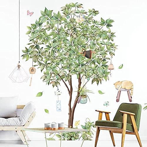WandSticker4U®- adesivi murali MELO (80x108 cm) I impermeabile piastrelle murales adesivi parete albero mele frutta natura gatto fata verde I Decorazione soggiorno camera letto cucina bagno