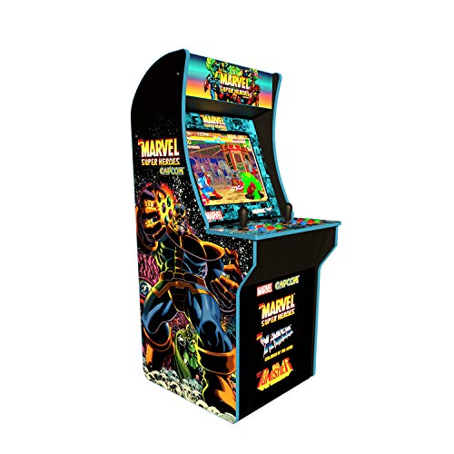 """Games Included: Marvel Super Heroes, X Men: Children of the Atom, The Punisher Classic upright """"Cabinet"""" design. Dimensions: 22.75"""" D x 19"""" W x 45.8"""" H 17"""" Color LCD screen, Dual speakers, Real-feel controls, On Screen Game Selection Menu, and adjust..."""