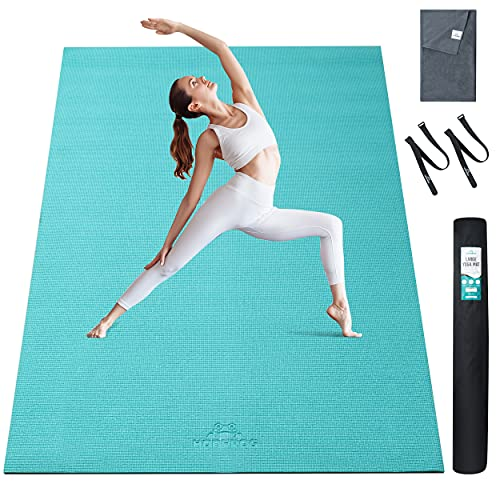 """Large yoga mat 6x4 – Extra Large Yoga mat thick 6'x4'x8mm (72""""x48""""), Large workout mat, Barefoot exercise mat, Workout mats for home gym, Eco Friendly Yoga Mat for men, women and kids, Fitness mats for exercise, Use without Shoes"""