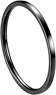 INRENG Women's Stainless Steel 1MM Thin Plain Midi Stacking Ring Band Comfort Fit, Size 3 to 10