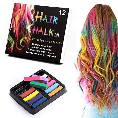 12 Stück Haarkreide-Set Für Mädchen - Kinder Haarfärbestifte Metallic Glitter, Temporäre Instant Haarfarbe Stifte Waschbarer Haarfärbestift, Mini Instant Haarkreide