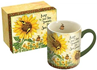 "LANG - 14 oz. Ceramic Coffee Mug -""Sunflowers"", Art by Debi Hron - Goldfinch, Birdhouse (5021037)"