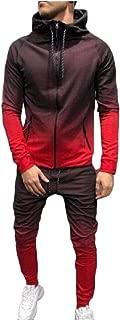 Men 2-Piece Gradient Hood Slim-Fit Zip Up Sweatsuit Jogging Set