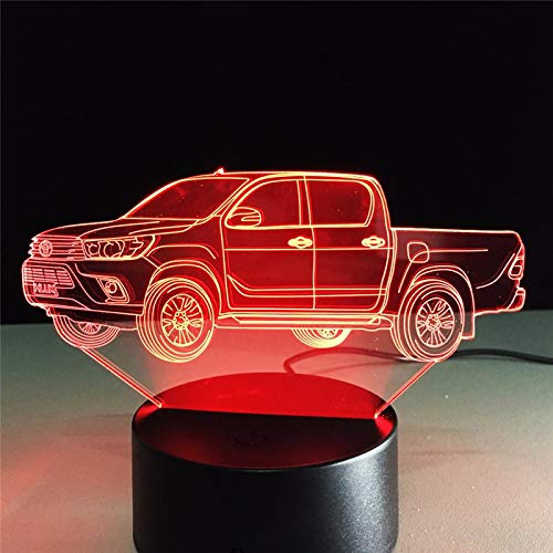 3D Tischlampe Kids Toy Geschenk Truck 3D Tischlampe Kids Toy Geschenk Hologramm Mehrfarbiges Nachtlicht Acryl Lampada LED Illusion Bedside Cool Toy