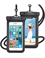 【最新版 & 指紋認証/Face ID認証対応】 防水ケース スマホ用 ( 2枚セット ) IPX8認定 完全保護 防水攜帯ケース 完全防水 タッチ可 顔認証 気密性抜群 iPhone11/iPhoneXR/X/8/8plus/Android 6.5インチ以下全機種対応 防水カバー 水中撮影 お風呂 海水浴 水泳など適用
