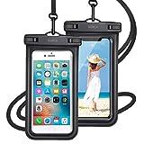 【最新版 & 指紋認証/Face ID認証対応】 防水ケース スマホ用 ( 2枚セット ) IPX8認定 完全保護 防水携帯ケース 完全防水 タッチ可 顔認証 気密性抜群 iPhone11/iPhoneXR/X/8/8plus/Android 6.5インチ以下全機種対応 防水カバー 水中撮影 お風呂 海水浴 水泳など適用