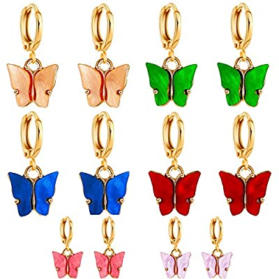 Nanafast Butterfly Drop Earrings for Women & Girls Thick Huggie Hoop Earrings with Gold-plated 6-Color Pack (Red/Green/Blue/Champagne/Rose Red/Light Purple)