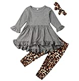 Toddler Girl Clothes Flare Sleeve Yellow Deer Shirt Top Ruffle Dress+ Sunflower Long Pants Leggings Outfit Set (Grey, 2-3T)