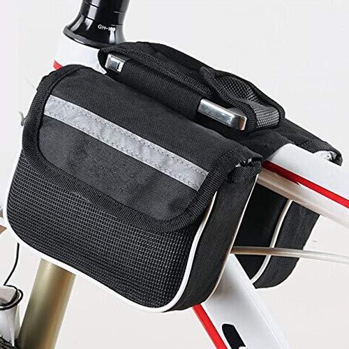 XYQY Fahrrad wasserdicht Rohr satteltasche Rahmen Tasche packtasche Radfahren Fahrrad schlauchtasche mit abnehmbaren Touchscreen handyhalter Fallschwarz