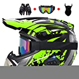 Unisex-Adult Full-Face Style Motocross ATV Helmet, DOT Certified Bluetooth Off Road Downhill Double Sport Motorcycle Racing Dirt Bike Helmet Set with Goggles Gloves Mask, s-XL