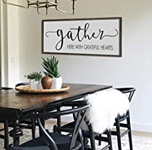 bawansign Gather here with Grateful Hearts Large Gather Sign Dining Room Sign Sign for Kitchen Fall Wall Decor Thanksgiving Sign