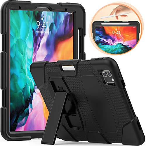 Timecity Case for iPad Pro 11-inch (2nd Generation 2020/ 1st Generation 2018), [Support iPad Pencil 2 Wireless Charging] Rugged Heavy Duty Shockproof Stand Case, Kids Friendly Protective Case, Black