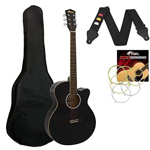 Tiger Music kleinen Körper Akustische Gitarre für Anfänger Gitarre–Schwarz