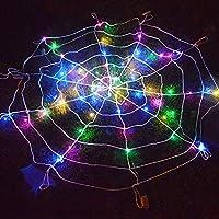 LEDハロウィンクモの巣のライト、ハロウィンクモの巣の小道具の照明LED装飾ライト、マルチカラーの銅線ストリングライトクモの巣の形
