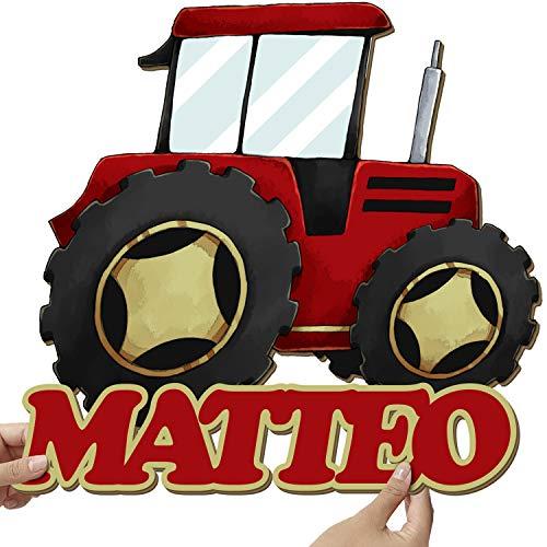 Elbeffekt Traktor Wandlampe aus Holz - personalisierbares Geschenk - Bilder Kinderzimmer Jungen Bild Traktor Kinderzimmer - Traktor Geschenk individuell aus Echtholz