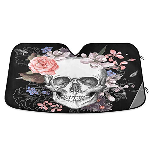 Qilmy Halloween pumpkin witch Skull Windshield Sunshade Foldable Car Auto Front Window Sun Shade Accordion for Truck SUV Cover to Keep Your Vehicle Cool 55 x 27.6 Inch