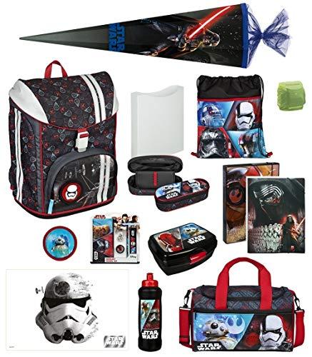 Familando Star Wars Schulranzen-Set 19tlg. Federmappe, Sporttasche, Schultüte 85cm Scooli mit Regenschutz FlexMax