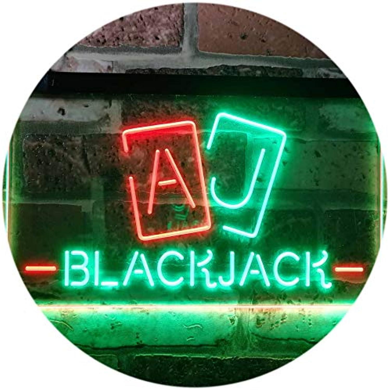 ADVPRO schwarz Jack Casino Poker Room Man Cave Dual Farbe LED Barlicht Neonlicht Lichtwerbung Neon Sign Grün & rot 16  x 12  st6s43-i3194-gr