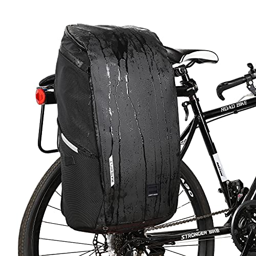 WATERFLY Bike Bag Travel Backpack: 25L Waterproof Bike Panniers Bicycle Bags Rear Rack Cycling Accessories with Rain Cover