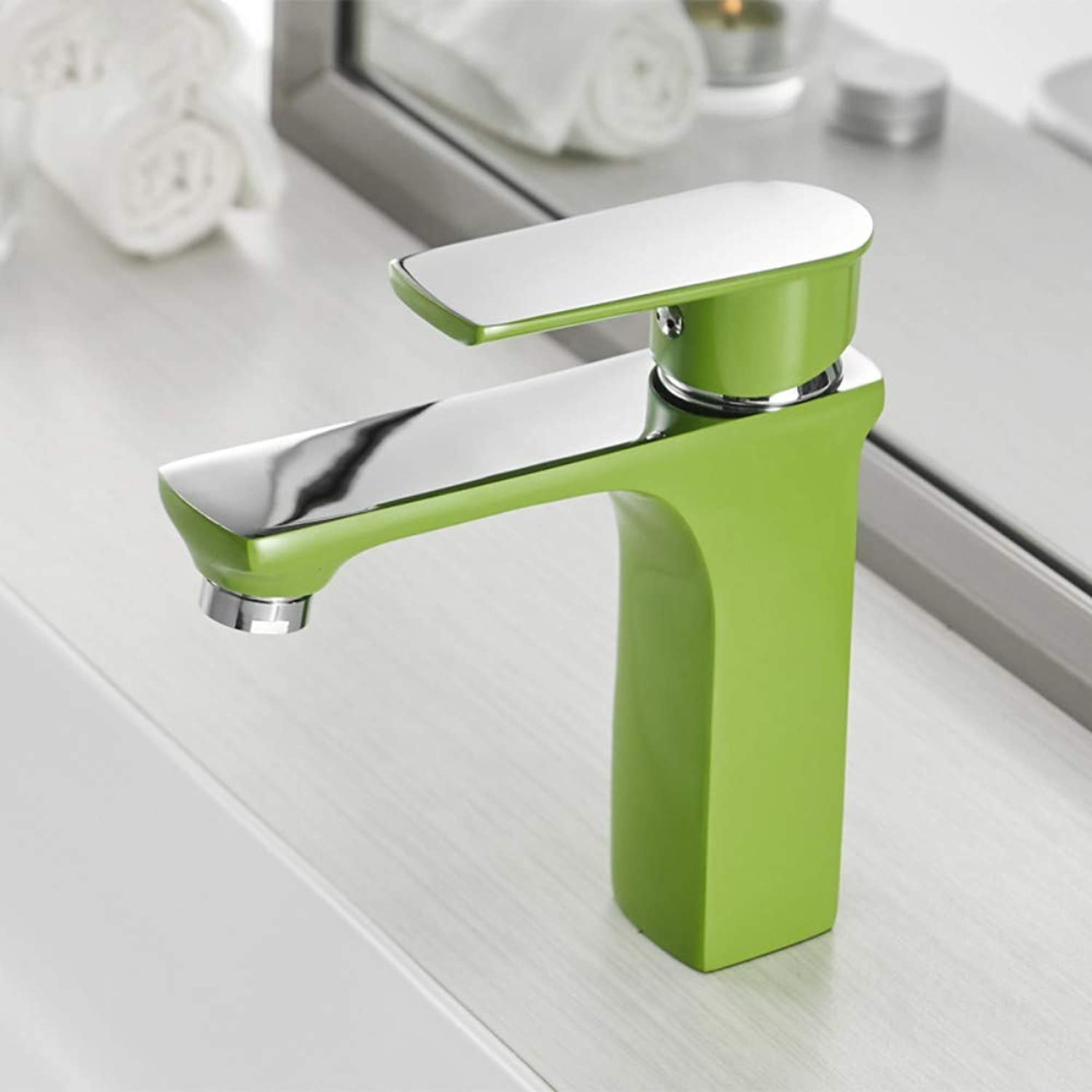 A-YSJ Faucet Basin Faucet Cold and Hot Green Water Taps orange White Fashion Style Bronze Single Hole Bathroom Mixer Faucet,1