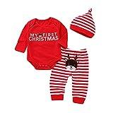 Afocuz Weihnachtskostüme Elch Langarm Outfits Set Neugeborenes Baby Jungen Mädchen Kleidung My First Christmas Gr. 12-18 Monate, rot