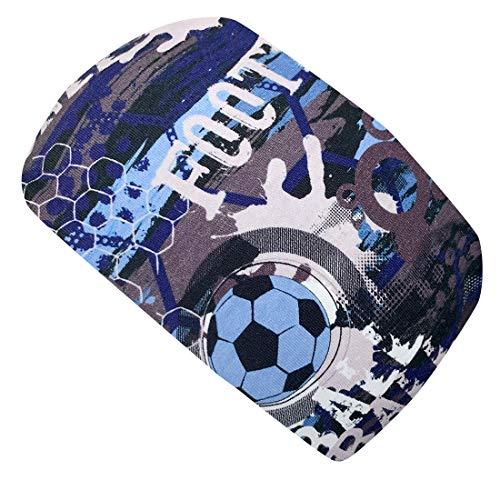 Wollhuhn ÖKO Jungen Cooles elastisches FUSSBALL/FOOTBALL Stirnband Blau (aus Öko-Stoffen, bio) 20202224