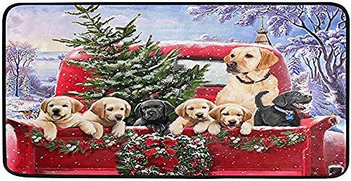 Xmas Red Truck Dog Kitchen Rugs Winter Christmas Tree Bath Rug Runner Comfort Mat Non-Slip Doormats Carpet for Bathroom Indoor 39' X 20'