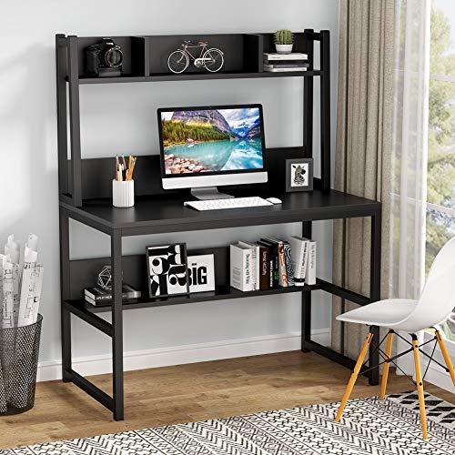 Tribesigns Computertisch Schreibtisch, Eckschreibtisch Vintage Home Office Schreibtisch mit Regalen für kleinen Raum, Holzoptik 107x 50 x140cm (Schwarz)