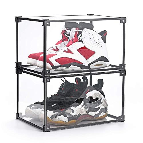 YPath - Caja de plástico acrílico transparente para zapatos, apilable, para zapatillas, estantes y tapas magnéticas, organizador para zapatillas, diseño totalmente transparente...