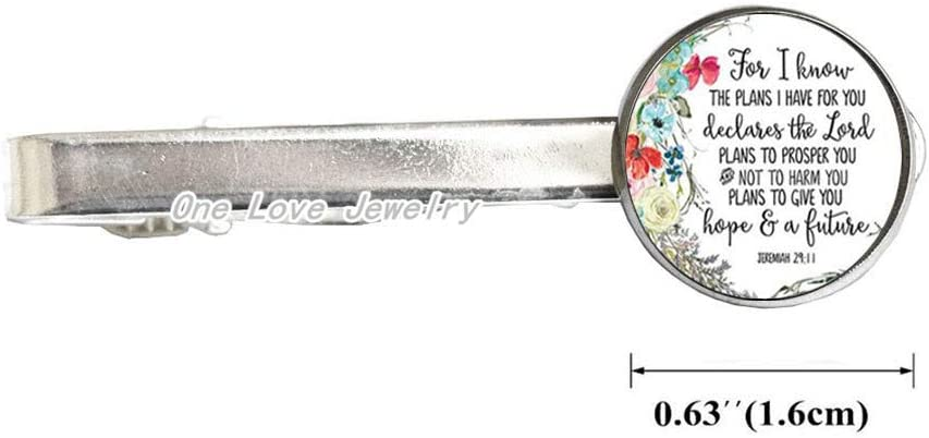 Jeremiah 29 11 for I Know The Plans I Have for You Bible Verse Tie Pin Tie Clip Glass Cabochon Charm Christian Tie Clips,TAP066