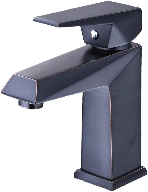 Congm GFFXIXI Single Handle Single Hole Brass Bathroom Vanity Faucet Basin Mixer Tap, Painting Black