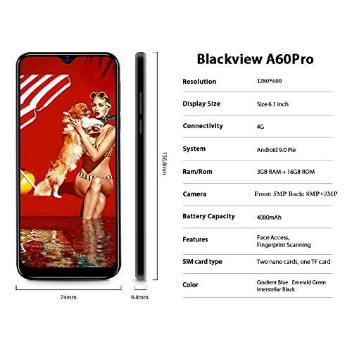 Smartphone débloqué 4G, Blackview® A60 Pro (2020) Ecran 6,1 Pouces Android 9.0, 3Go RAM+16Go ROM Dual SIM Téléphone Mobile Double caméra 8MP+5MP, Batterie 4080mAh - Reconnaissance Faciale/Fingerprint