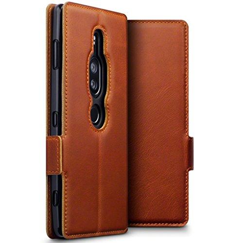 TERRAPIN, Kompatibel mit Sony Xperia XZ2 Premium Hülle, ECHT Leder Börsen Tasche - Ultra Slim Fit - Betrachtungsstand - Kartenschlitze - Cognac