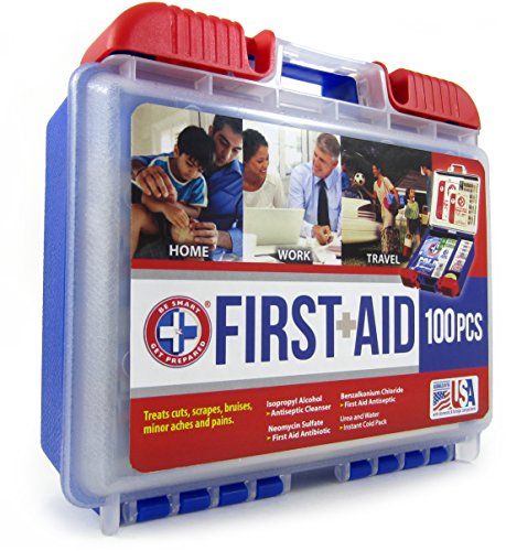 Be Smart Get Prepared 100 Piece First Aid Kit: Clean, Treat, Protect Minor Cuts, Scrapes. Home, Office, Car, School… 5
