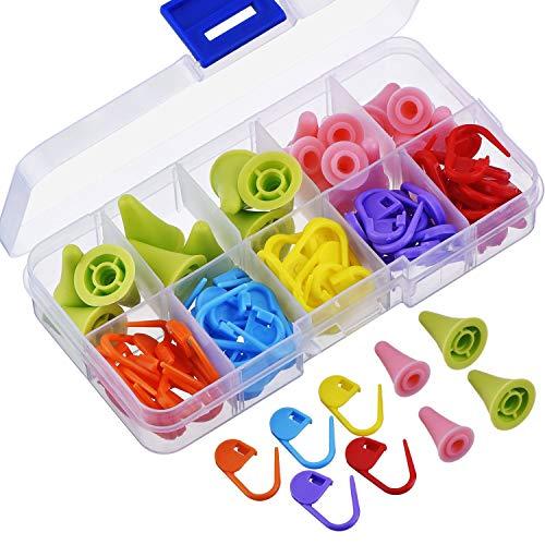 iwobi 40 Stück Mehrfarbige Stricknadeln Spitzen Stopper für Strickarbeiten mit Aufbewahrungsbox, 2 Größen