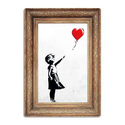 Giallobus - Quadro - Banksy - Bimba Palloncino Frame - Stampa su Legno MDF - Pronto da Appendere - 29,7x42 cm