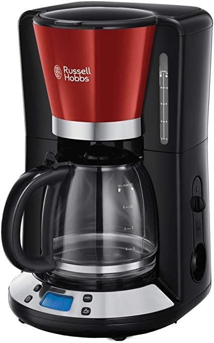 -Russell Hobbs Colours Plus+ Flame Red Digitaal Filterkoffiezetapparaat Rood (incl. Glazen Kan), Programmeerbare Timer, 10 Koppen (1,25L), 24031-56-aanbieding