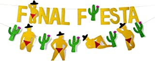 Finduat 2 Pack Gold Glittery Final Fiesta Banner and Glittery Cactus Man Garland- Mexican FiestaTheme Party Decor Bachelorette Wedding Party Decorations