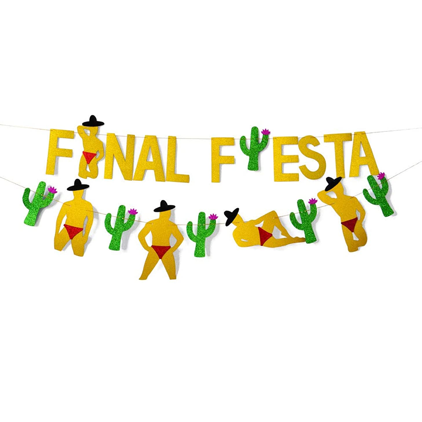 2PCS Gold Glittery Final Fiesta Banner and Glittery Cactus Man Garland,Mexican FiestaTheme Party Decor Bachelorette Wedding Party Decorations