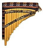 Bamboo Pan Flute 22 Pipes Natural Bamboo Nazca Lines Design From Peru - Case Included -