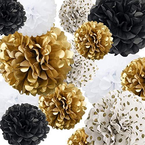 SZHUIHER Seidenpapier Pom Poms Papier Blume 22 Stück für Geburtstag Bachelorette Hochzeit Baby Shower Bridal Shower Party Dekoration