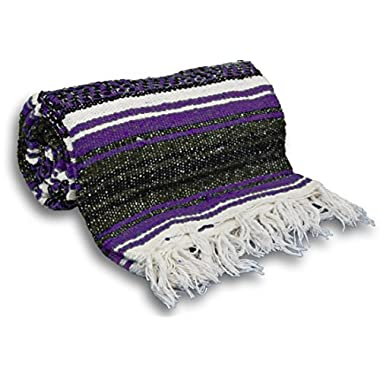 YogaAccessories Traditional Mexican Yoga Blanket ( Dark Purple)